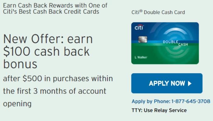 Citi Double Cash $100 Bonus