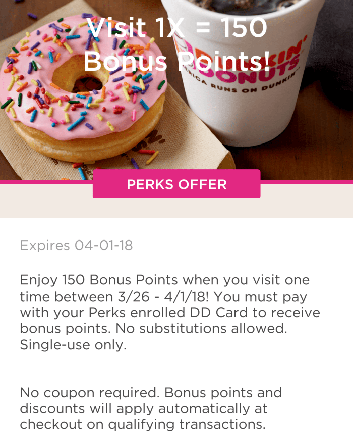 dunkin donuts 150 points