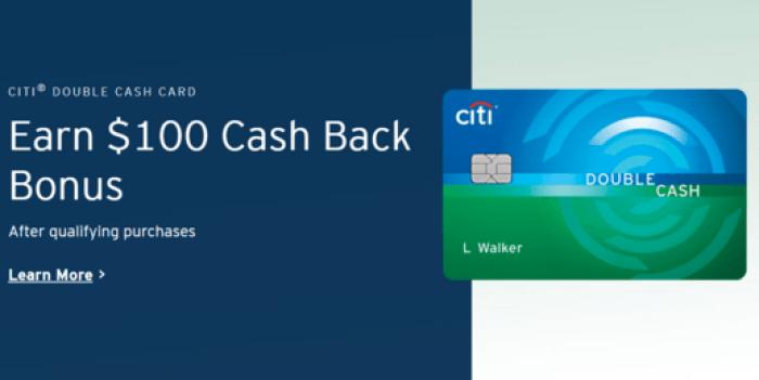 Citi Double Cash $100 Signup Bonus