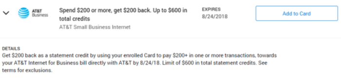 AT&T Business Internet Amex Offer