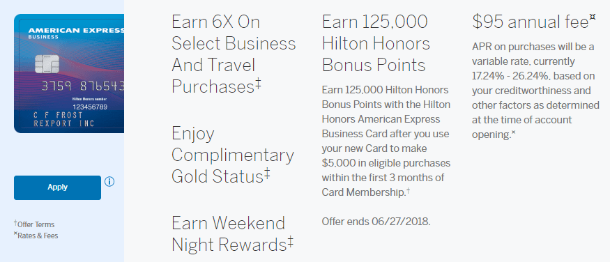 Hilton honors american express business card new best ever bonus of amex business hilton 125k colourmoves