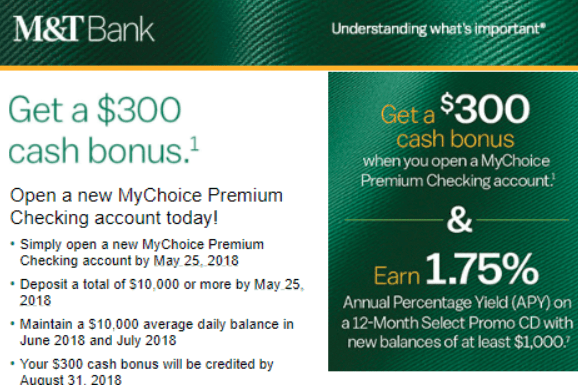 M&T bank 300 bonus