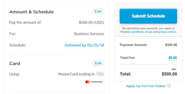 no fee mastercard plastiq