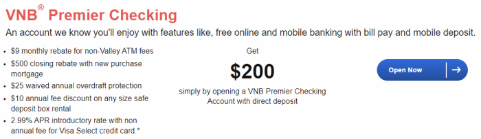 Valley National Bank $200 Bonus