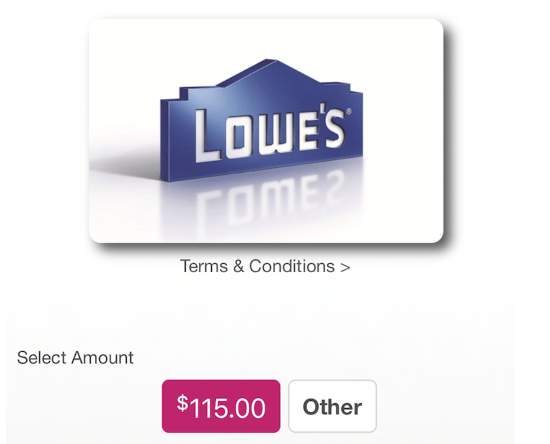 Swych, $115 Lowe's Gift Card for $100 Plus 5X Ultimate Rewards