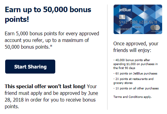 JetBlue Plus Card, Get 5K Referral Bonus or 40K Signup Bonus
