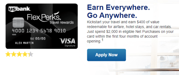 U.S. Bank FlexPerks Travel Rewards 400 bonus