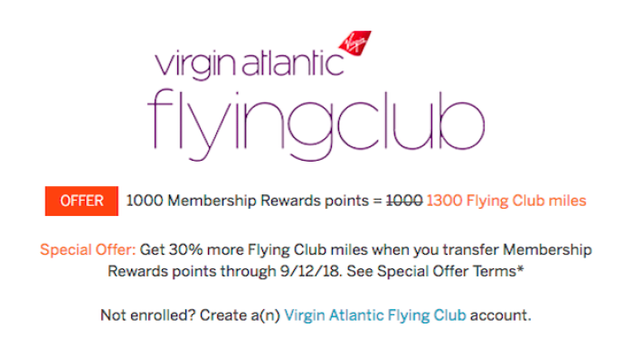 MR Points To Virgin Atlantic Miles