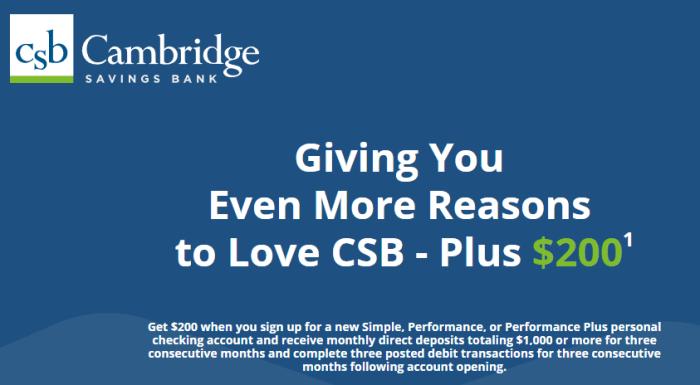 Cambridge Savings Bank $200 Bonus