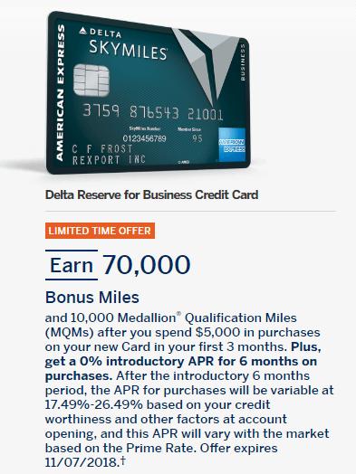 Amex Delta Reserve Business 70k bonus