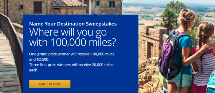 United Airlines 100K sweepstakes