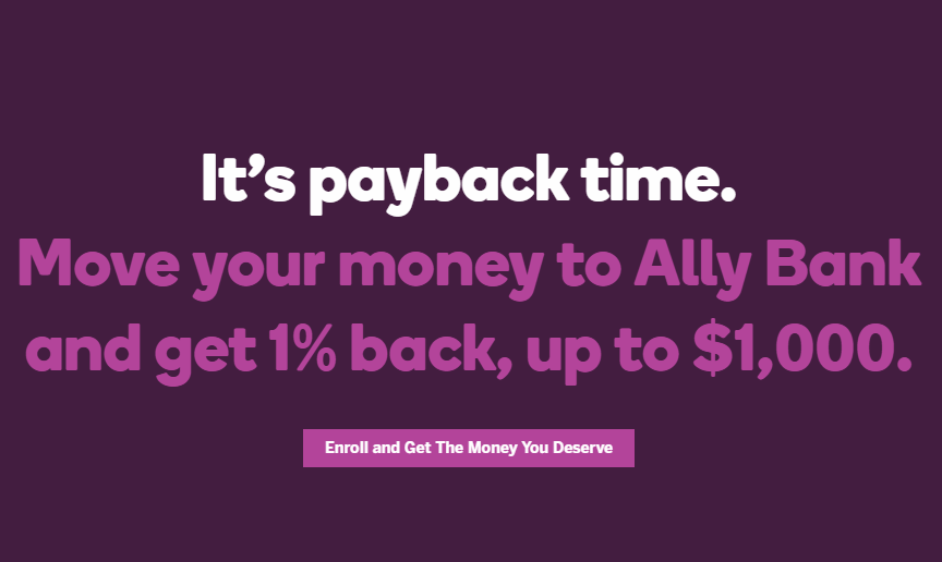 Ally Bank, Get 1% Bonus in 3 Months on New Deposits of up to $100K
