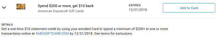 Gift Card Amex Offer