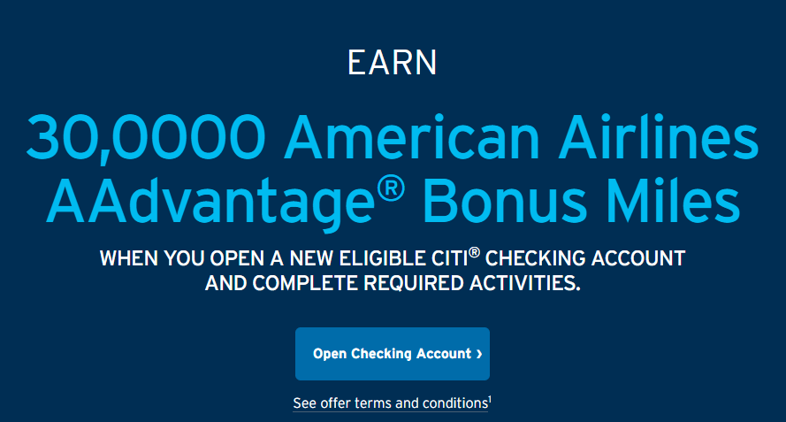 Citi Checking Bonus, Earn 30K AAdvantage Miles with New Account