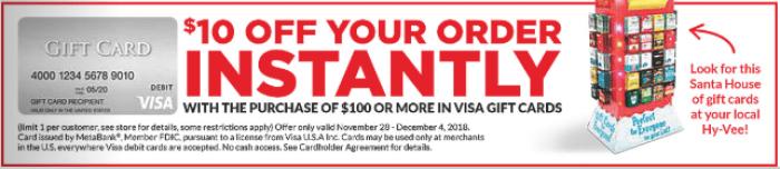 hy-vee visa gift card deal