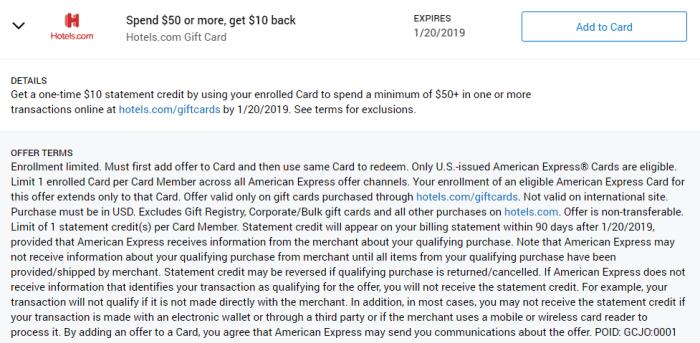 Hotels.com Amex Offer