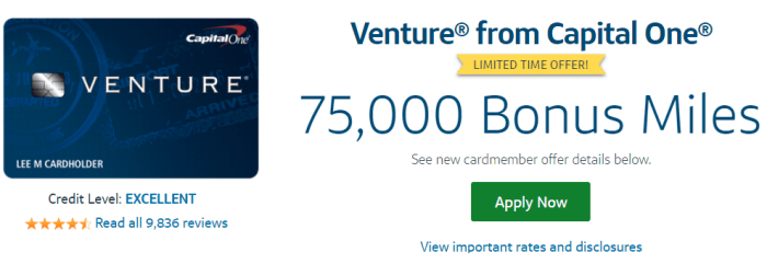 Capital One Venture Card 75k
