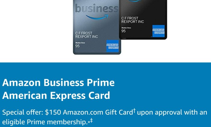amazon business prime card 150 bonus