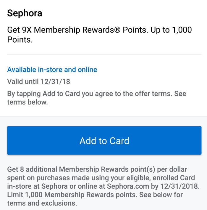 Sephora Amex Offer