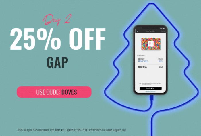 Swych 12 Days of Deals - Day 2 - 25% Off $25 Gap Card (Limit 1
