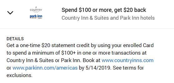 Country Inn & Suites or Park Inn Amex Offer