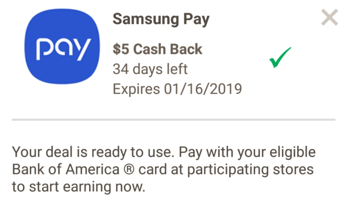 bank of america Samsung pay