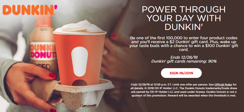 Coca Cola Rewards, Get $2 Dunkin Card with 4 Codes