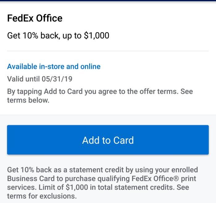 FedEx Amex Offer