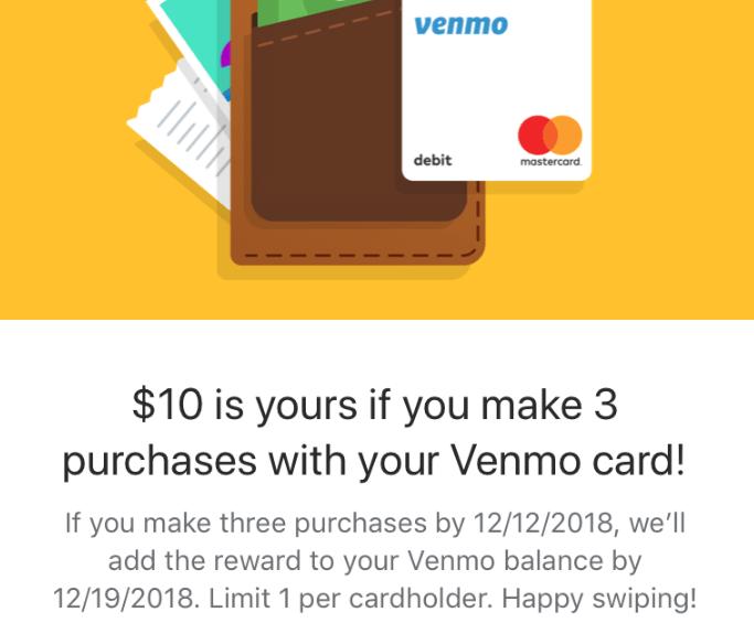 venmo card 10 bonus