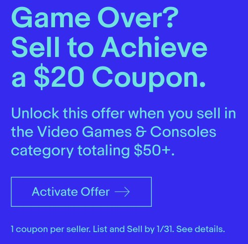 Ebay Get 20 Coupon When You Sell Video Games Consoles Ymmv Danny The Deal Guru