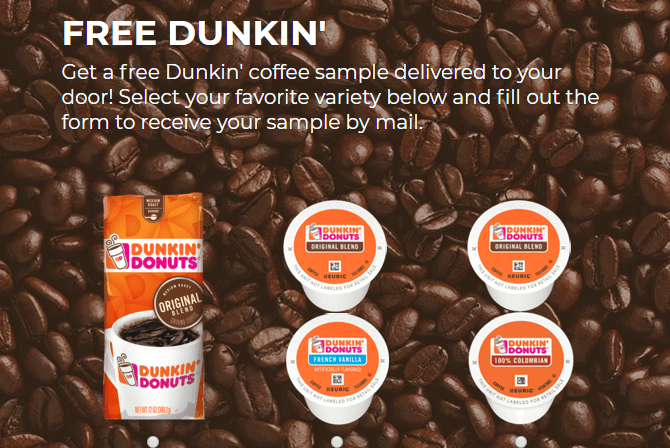 Free Dunkin Coffee, K-Cup Samples or $1 Coupon