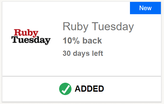 Ruby Tuesday Chase Offer