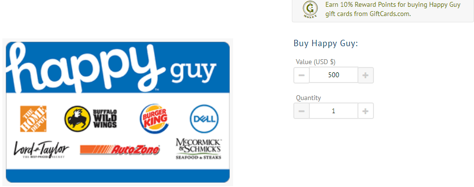 GiftCards.com, 10X G-Money Rewards on Happy Gift Cards Plus 4% Cashback