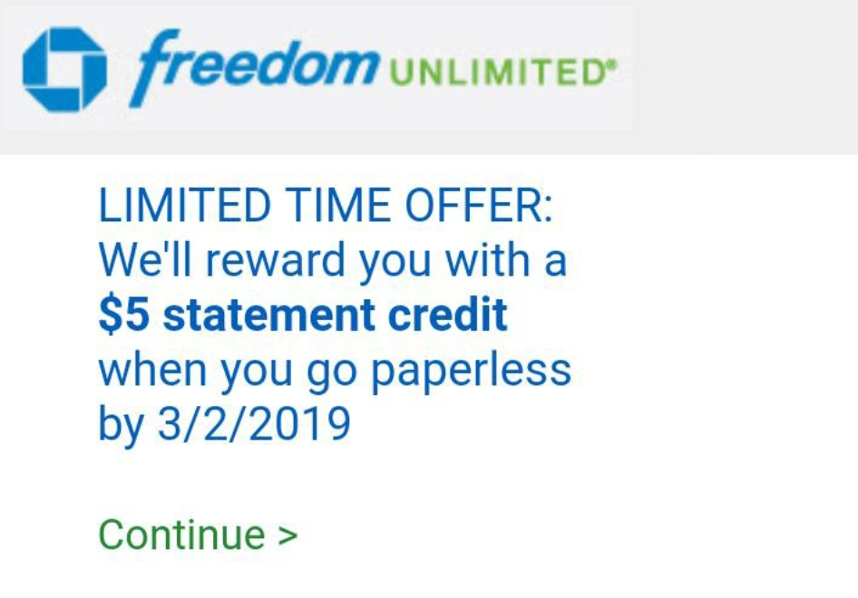 Chase Cardholders, $5/$10 Bonus for Going Paperless