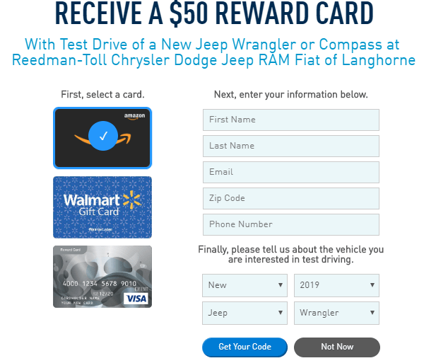 Jeep Test Drive Bonus, Get A $50 Gift Card