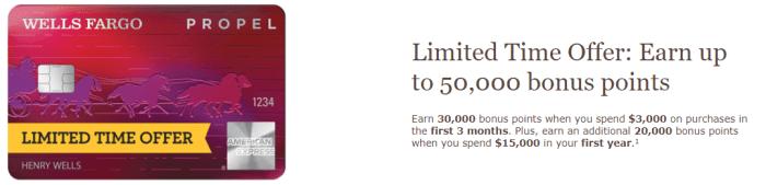 Wells Fargo Propel bonus 50K