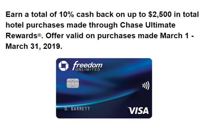 chase 10% hotels promo