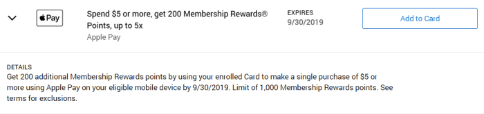 Apple Pay Amex Offer