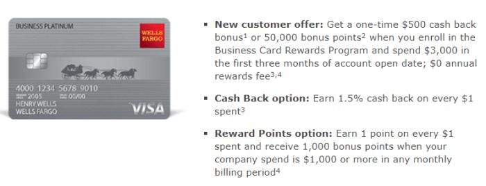 Wells Fargo Business Platinum Card $500 Signup Bonus