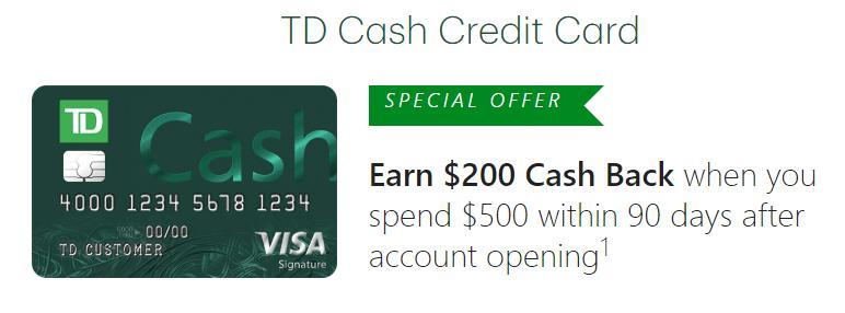TD Cash Rewards Credit Card, $200 Signup Bonus And 3% On