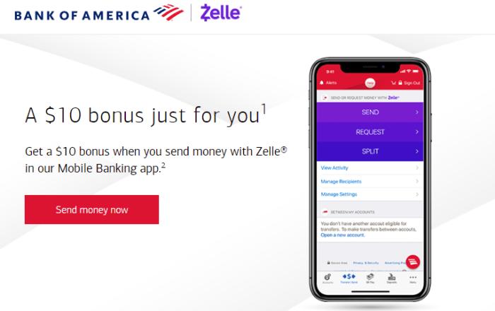 bank of america $10 zelle bonus