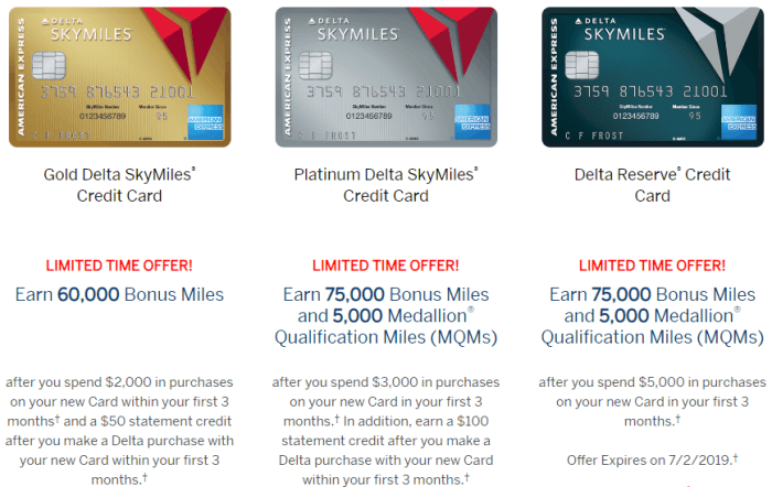 Bonuses for Amex Delta Cards