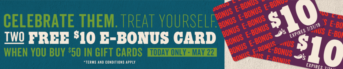 Buy $50 Chili's Gift Card, Get Two $10 Bonus Cards Today