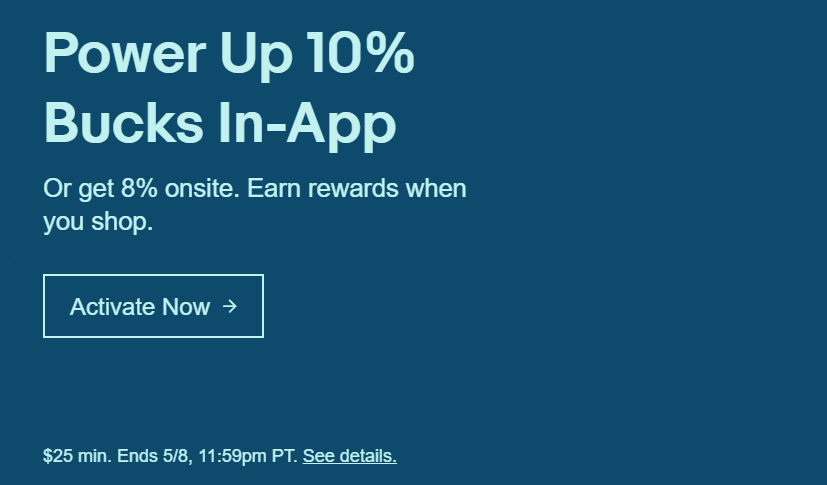 eBay Bucks Offer: 10% Back Through App, 8% on Site