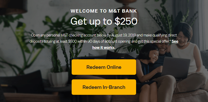M&T Bank Bonus, Get up to $250 with a New Checking Account