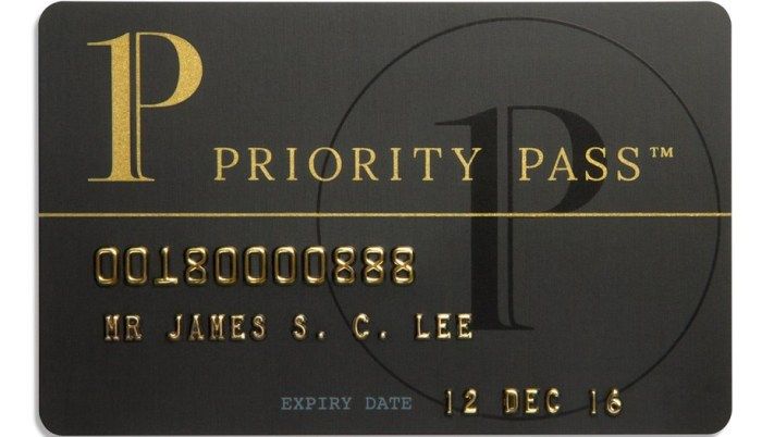 credit cards with free priority pass membership