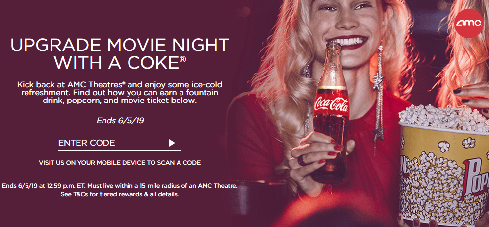 Coke Rewards: Free AMC Movie, Drink, Popcorn with 20 Codes