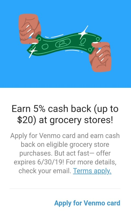 venmo card 5% on groceries
