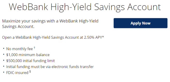 WebBank High-Yield Savings Account