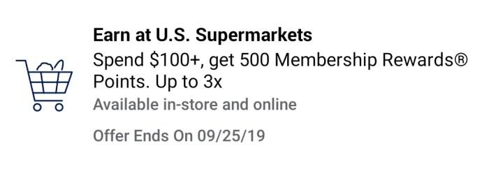 Supermarket amex offer